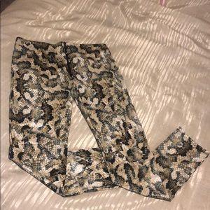 Snakeskin Leggings with front zipper